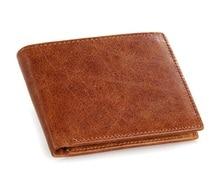 100% Genuine Leather Simple Design Mens Credit Card Holder Fashion Short Wallet Business 8047B