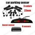 Free shipping Sound Alarm indicator 8 Sensors 22mm 3 colors 12V Car Parking sensor monitor system Reverse Backup Radar