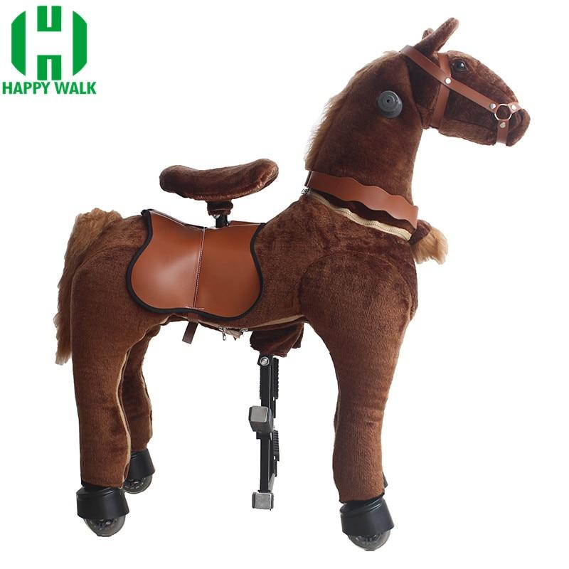 Marron foncé taille M monter sur des jouets pour animaux cheval mécanique poney en plein air amusement et Sports monter à cheval pour les grands enfants de 7-14 ans