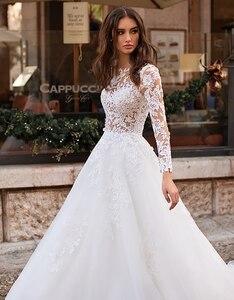 Image 3 - לורי חתונה שמלת 2019 ארוך שרוולי Vestidos דה novia אשליה תחרה Appliqued קו כלה שמלת כפתורים חזרה שמלות כלה