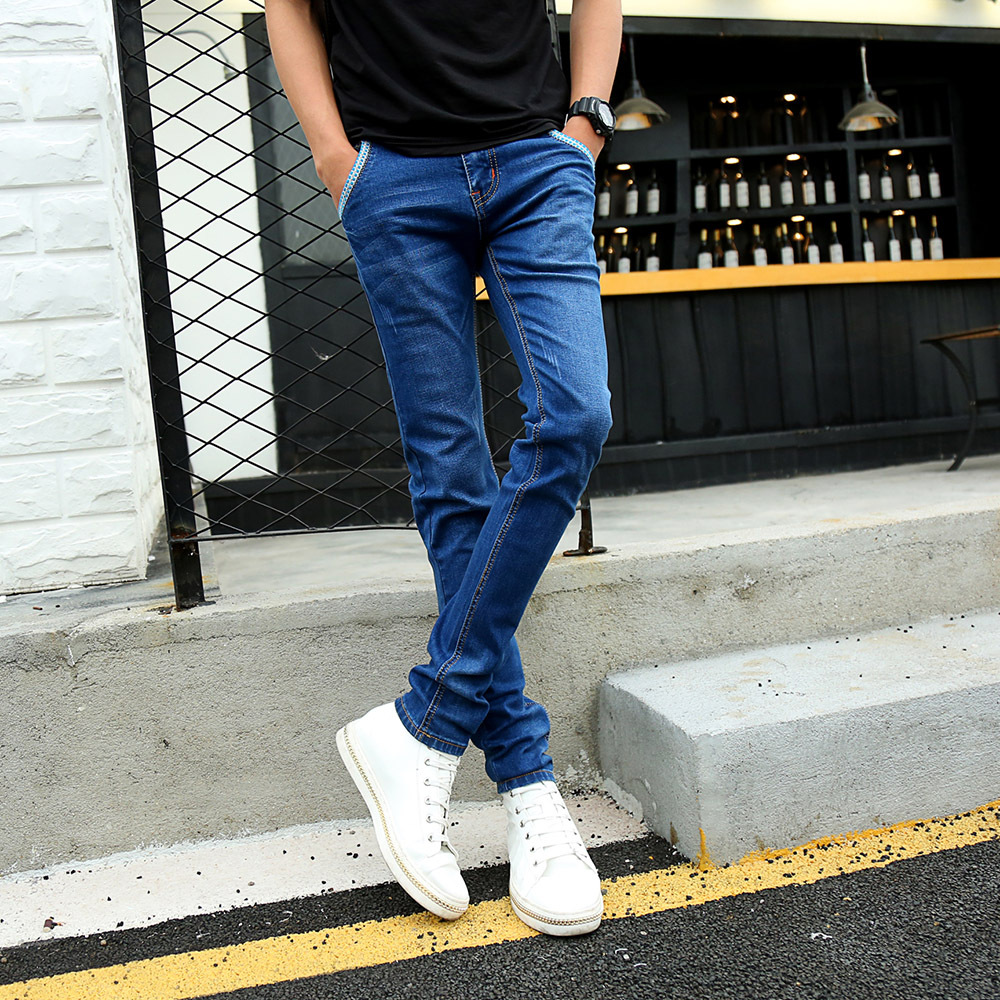 New Fashion Korean Style Jeans Men Casual Slim Fit Vintage Classical Straight Stretch Denim Pants Blue Skinny Plus Size Trousers