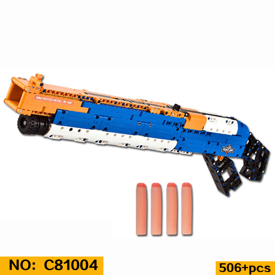 Idear modern military wars M1887 gun building block assemblage model bricks with soft Bullet toys for boys gifts 8 in 1 military ship building blocks toys for boys
