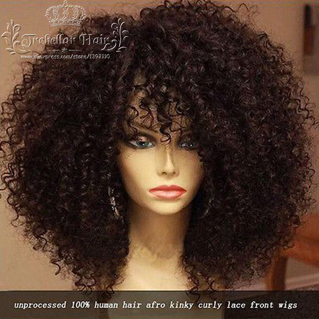 180 Density Full Lace Kinky Curly Wig Perruque Peruvian Curly Lace