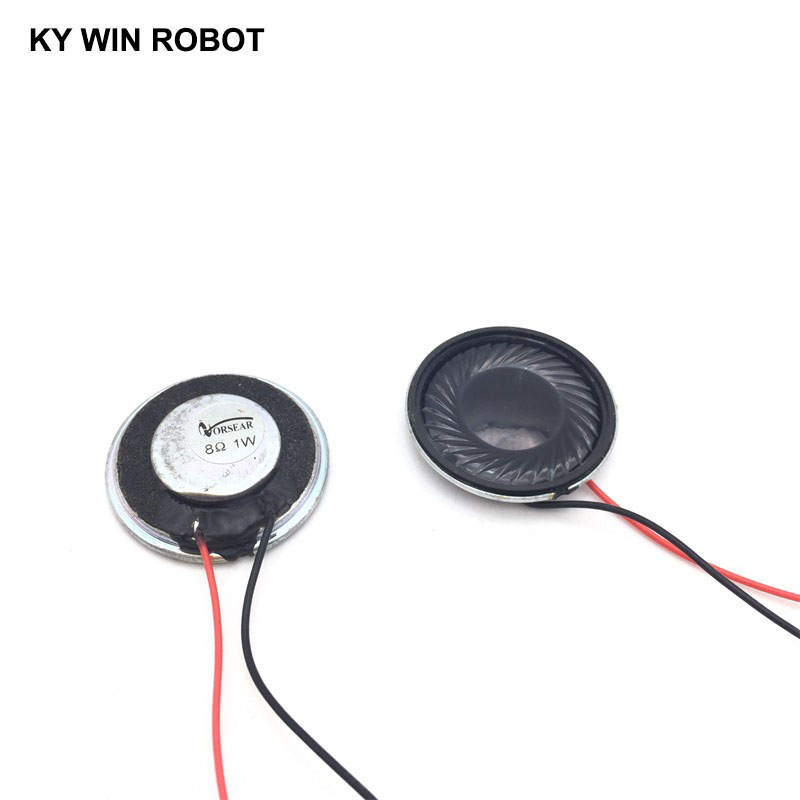 2pcs/lot New Ultra-thin <font><b>speaker</b></font> <font><b>8</b></font> <font><b>ohms</b></font> 1 watt <font><b>1W</b></font> 8R <font><b>speaker</b></font> Diameter 28MM 2.8CM thickness 5MM with wire length 13CM image
