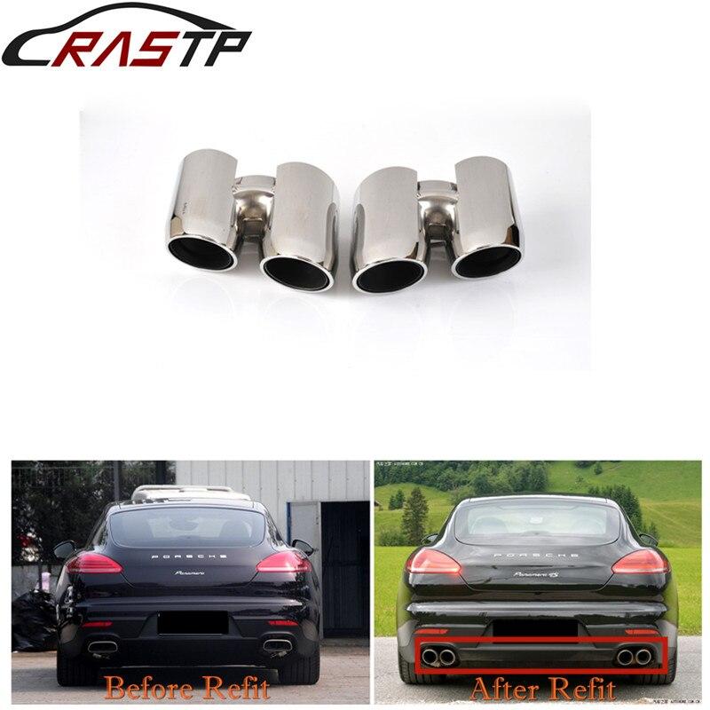 RASTP-acier inoxydable Auto Voiture D'échappement Conseils Fin Silencieux Pour Porsche 14 Panamera RS-CR8096