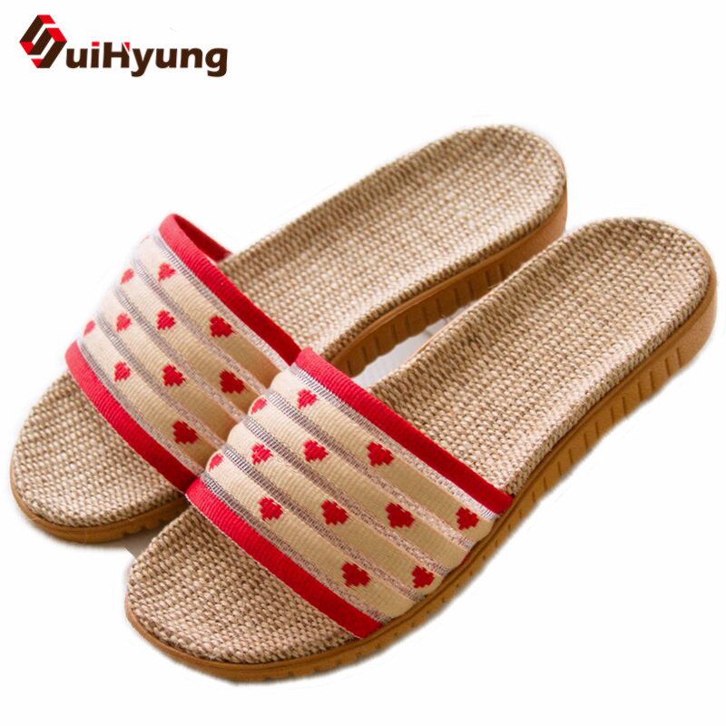 Suihyung 2018 New Women Summer Shoes Non-slip Beach Linen Slippers Flip Flop Indoor Floor Slippers Laides Home Bathroom Slippers fayuekey new fashion summer home striped linen slippers women indoor floor non slip beach slides flat shoes girls gift
