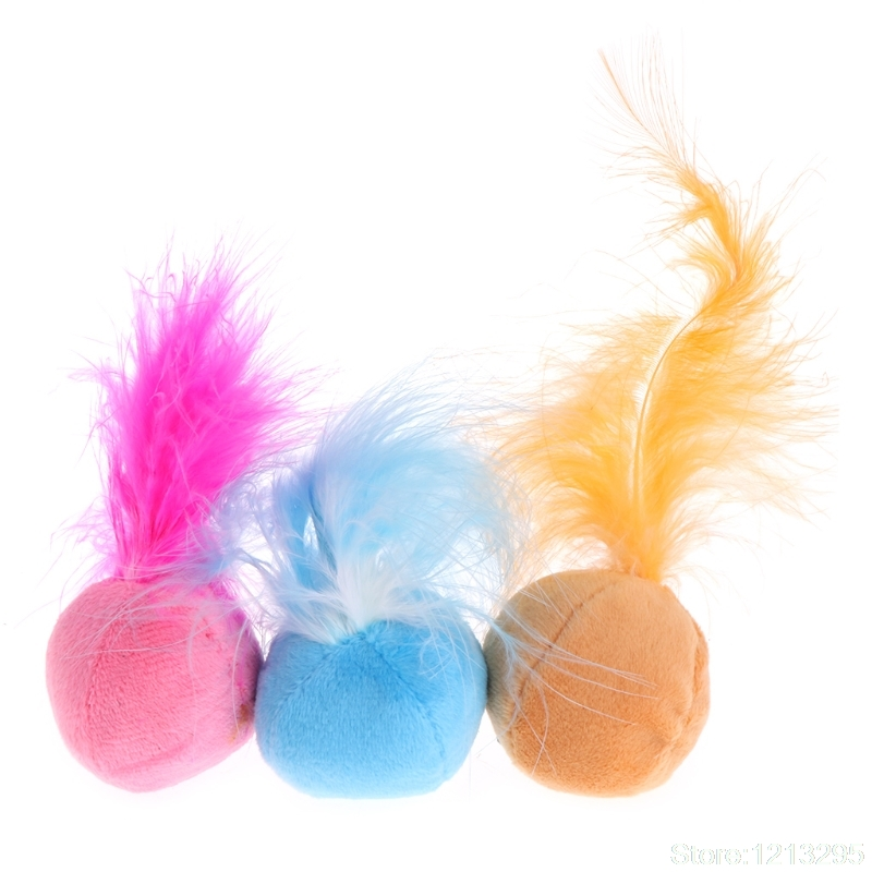 Cat Toys Catnip Ball Soft Feather Sound Interactive Pet Kitten Chew Bite Playing W310