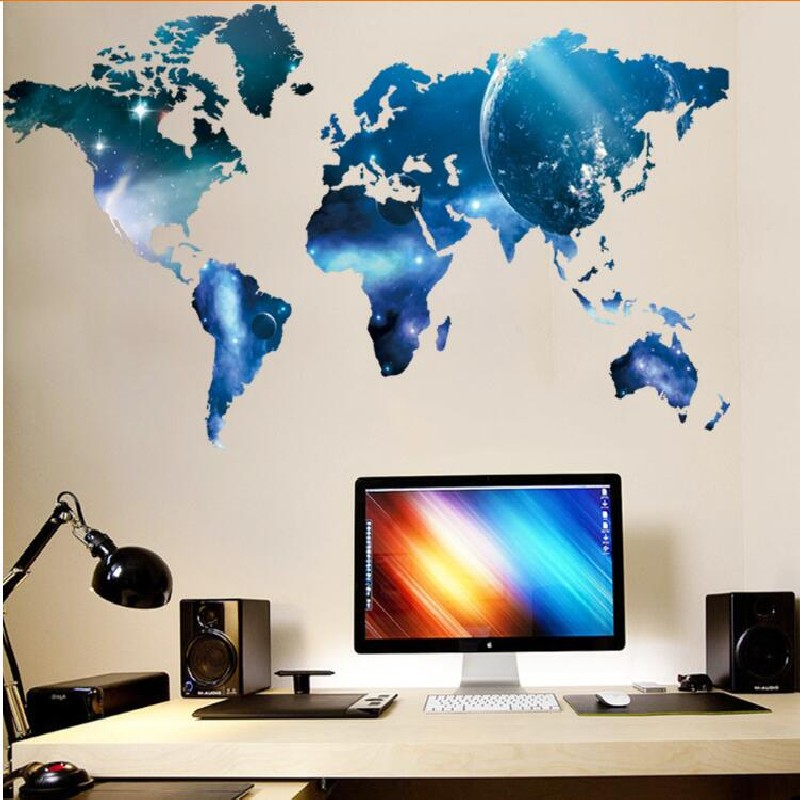 Aliexpress.com : Buy Fashion Large World Map Wall Stickers Original  Creative Letters Map Wall Art Bedroom Home Decorations Wall Decals From  Reliable ...