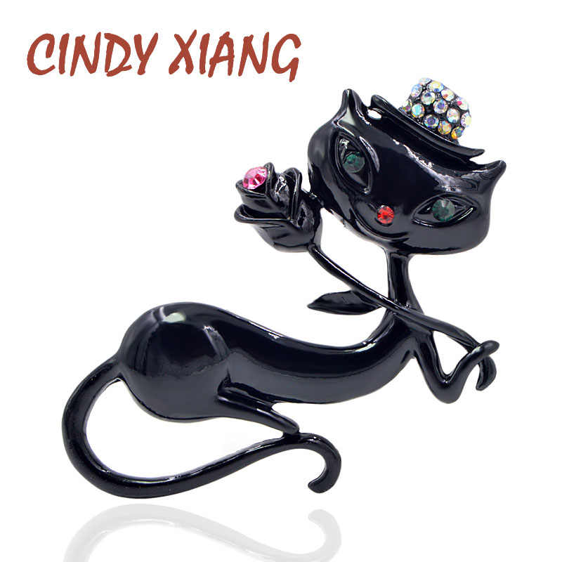 CINDY XIANG Black Enamel Cat Brooches for Women Holding Flower Kitty Brooch Pin Fashion Animal Accessories High Quality New 2018