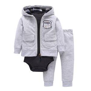 Image 2 - baby boy girl outfit infant clothing newborn clothes toddler set unisex new born costume spring autumn suit jacket+bodysuit+pant