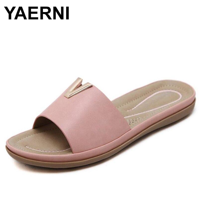 YAERNI Plus size 35-42 Women Slides Home Slippers Words Summer women shoes Soft Beach Shoes Sandals Woman Flip Flops Sandalias