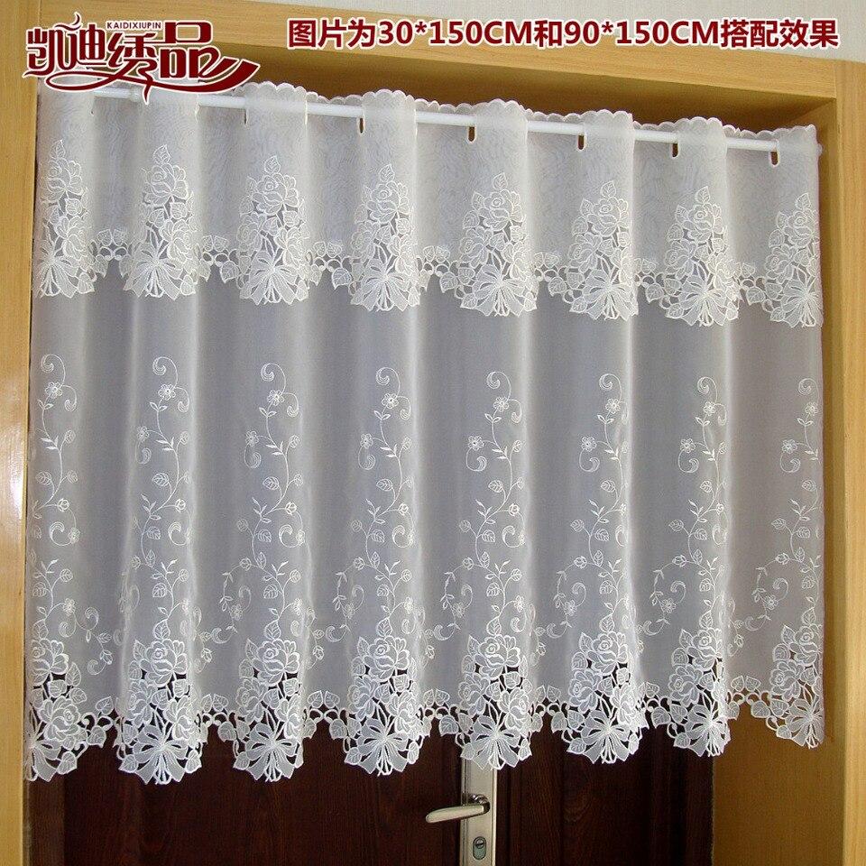 US $16.16 160% OFFLandschaft Halb vorhang Luxuriöse Bestickt Fenster Volant  Spitze Saum Kaffee Vorhang für Küche Schrank Tür A 1116curtains forcoffee