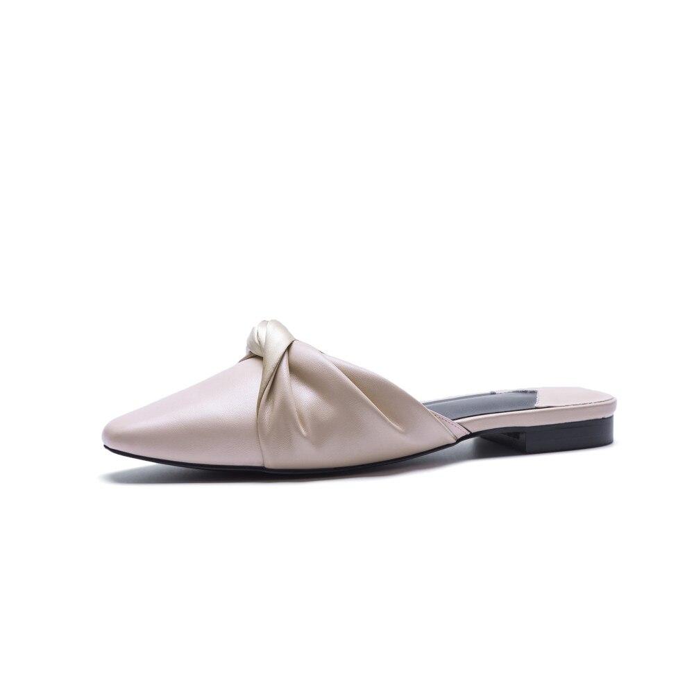 Cuir Nouveau Plates Grande Masgulahe Arrivent 43 De Chaussures Femmes Taille 34 Noir Casual Noir Femme apricot D'été En Mules Sandales Mode Véritable wqw6IPf