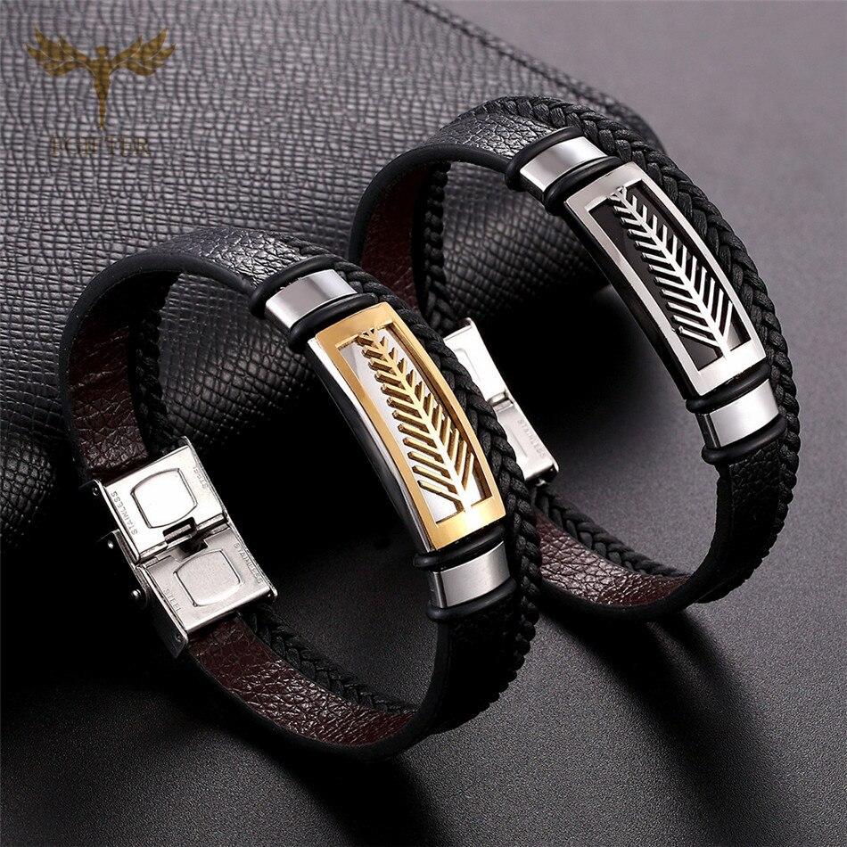 Fashion Womens Jewellery Stainless Steel Leaf Charm Bracelets Braided Leather Multi Layer Bracelet Cuff Bangles Men Women Gift