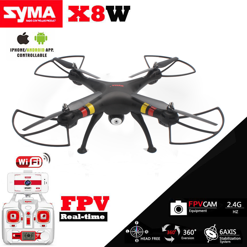 Syma X8W Quadcopter FPV WiFi Real-Time 2.4G 4ch 6 Axis with 2MP Camera Big RC Drone Helicopter remote control Holder As Gift syma x8c 2 4g 4ch 6 axis rc quadcopter drone helicopter 2 mp hd camera with gift can hold gopro camera same as x8w x8g
