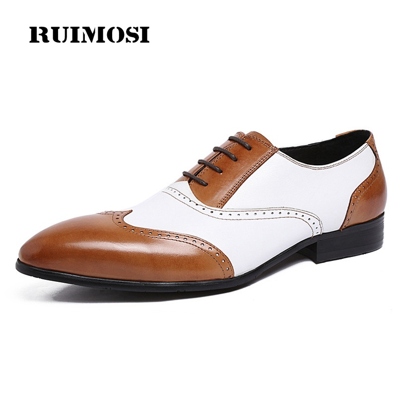 RUIMOSI Luxury Brand Man Brogue Shoes Genuine Leather Wing Tip Oxfords Vintage Pointed Toe Men's Handmade Male Flats XE62