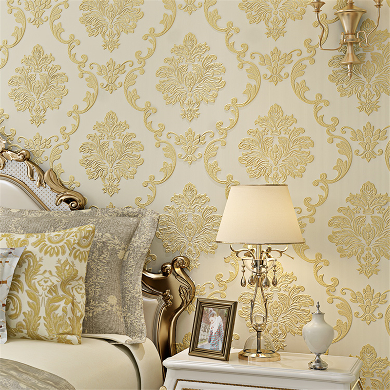 купить beibehang papel de parede 3d floral damask wallpaper roll glitter wallpaper for living room background wall paper papel pintado по цене 2206.52 рублей