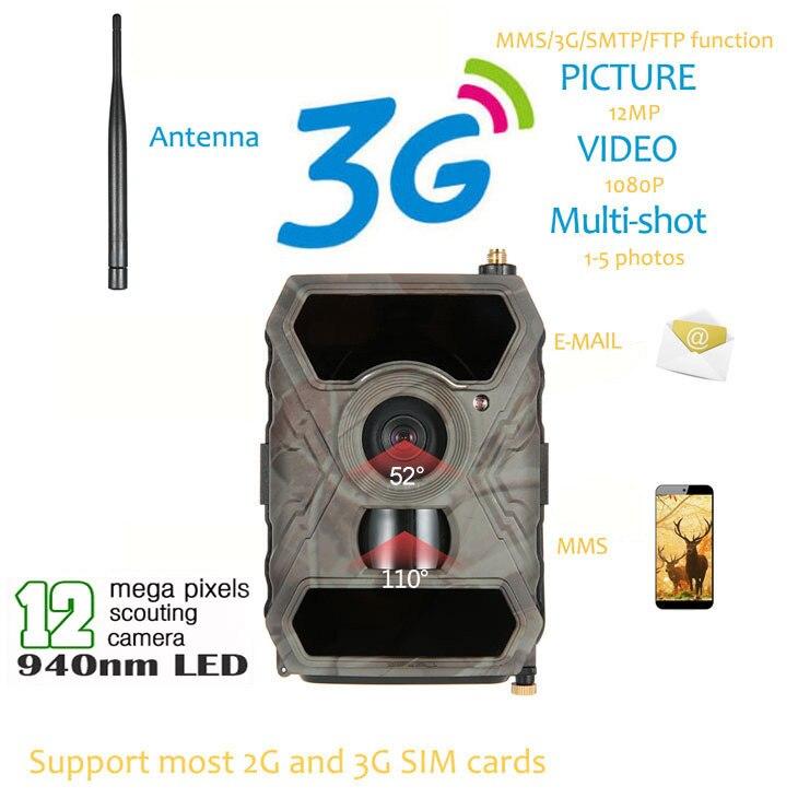 S880G 12MP HD 1080 p Numérique Chasse Caméra 940NM Trail Jeu Caméra 3g Réseau SMS/MMS Nuit Vision 56 pcs IR LED