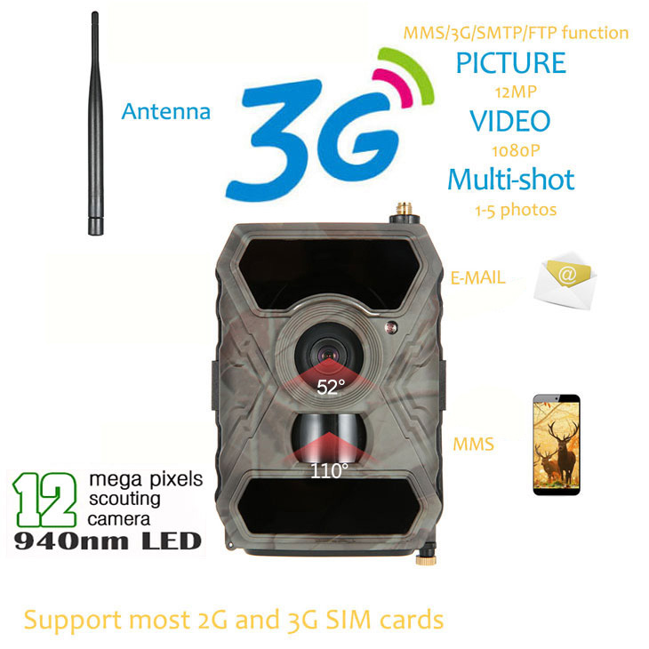 S880G 12MP HD 1080P Digital Hunting Camera 940NM Trail Game Camera 3G Network SMS/MMS Night Vision 56pcs IR LED 2 lcd hd 1080p mms digital infrared