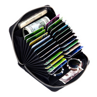 2018 Genuine Leather Women Men ID Card Holder Large Capacity Card Wallet Bank Credit Card Business