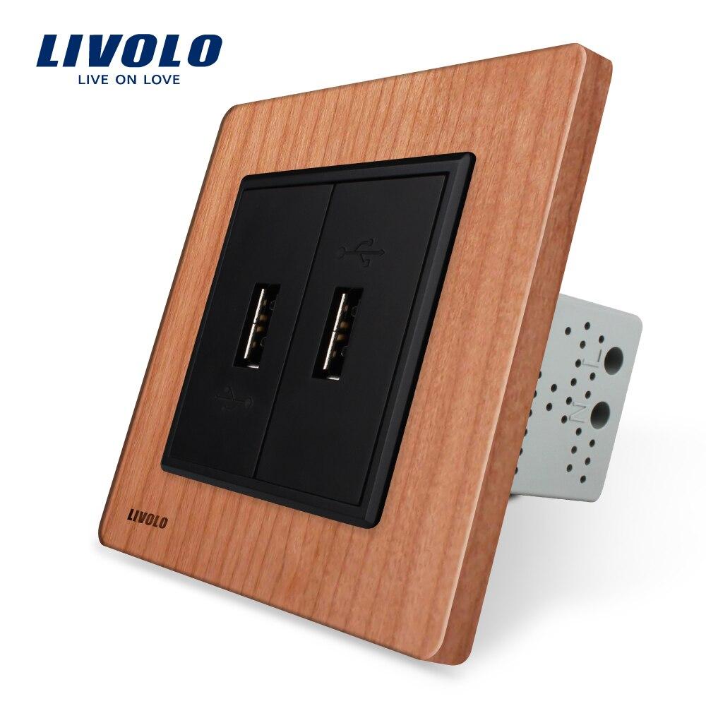 Livolo UE standard Cerise Panneau De Bois, deux Gang USB Plug Socket/Prise Murale VL-C792U-21.