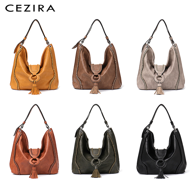 CEZIRA Fashion Vegan Leather Top-handle Bags Female Tote Shoulder Bags Ladies Large Hand Bags Tassel Flap Women Casual Hobo Bags 2