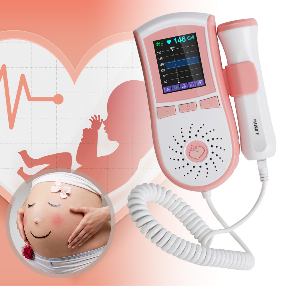 Color LCD Display Pocket Fetal Doppler Prenatal Heart Baby Heart Monitor 3MHz Probe Dual Interface Display Pink medical diagnostic tool fetal heart doppler jpd 100s6 pocket prenatal baby sound monitor 3mhz probe and large color lcd display