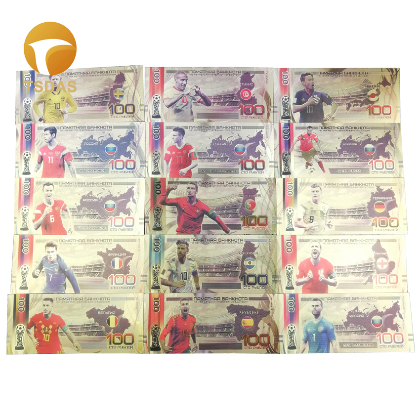 15 Teams Russian Souvenir Gold Banknote 100 Rubles Gold Foil Banknote Collection For Football Fans Gifts
