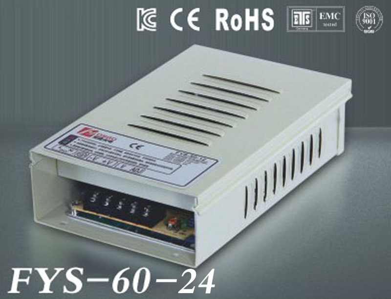 Free Shipping Rain-proof switch Power Supply Driver 24V 4.2A 60W AC110/220V Input CE&RoHS Certified outdoor use (FYS-60-24)