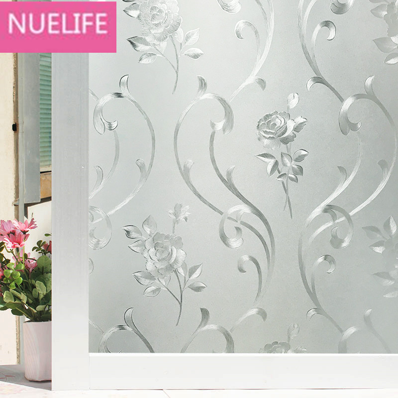 Flower Pattern Static Frosted Window Glass Sticker Opaque Kitchen Bathroom Decal