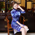 Long Sleeve Women Traditional Chinese Qipao Cheongsam Knee High Plus Size Elegant Women Qipao Blue Embroidery Velvet Cheongsam