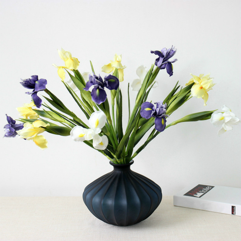 Us 32 6 Real Touch Pu Simulation Orchid Iris Alice Artificial Flower Home Wedding Living Room Decoration Fake Flowers Bridal Bouquet In