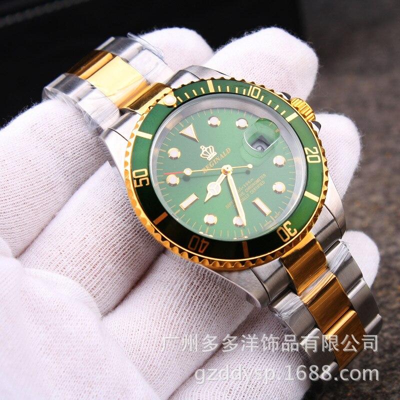 Luxus HK Marke Mode Männer Kleid GMT Saphirglas Datum Komplett Aus Edelstahl Quarz Gold Uhr Business Uhren