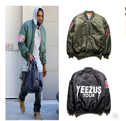 Hip Hop High Quality Mens Olive Green and Blue Bomber Jacket American Flag  Yeezus Tour Ma1 Flight Jackets Kanye West dce30880fdb