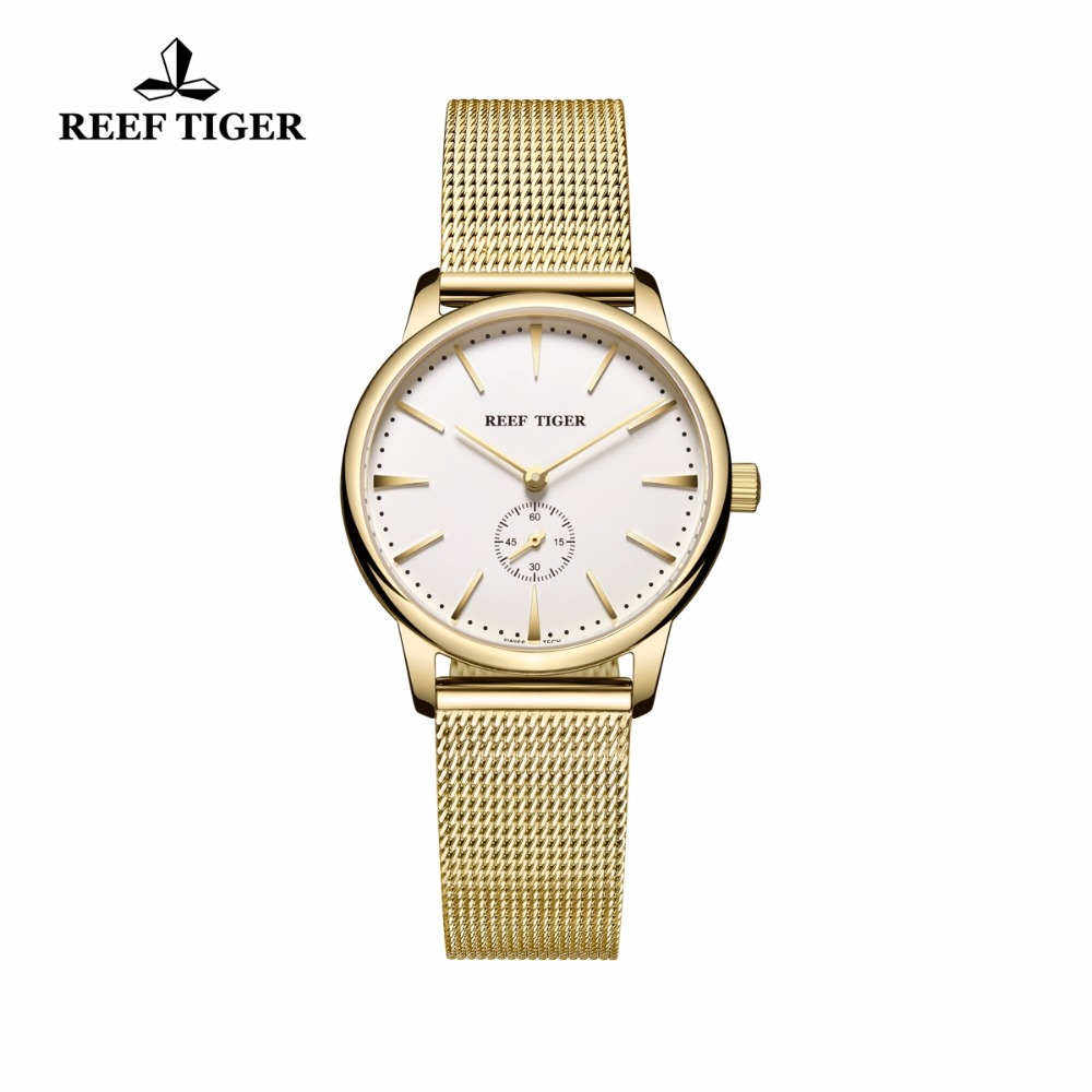 цены Reef Tiger/RT Luxury Vintage Watches for Couple Yellow Gold Ultra Thin Watches for Men and Women Quartz Watches RGA820