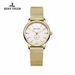 Reef Tiger/RT luksusowe klasyczne zegarki dla pary żółte złoto ultra cienkie zegarki dla mężczyzn i kobiet zegarki kwarcowe RGA820