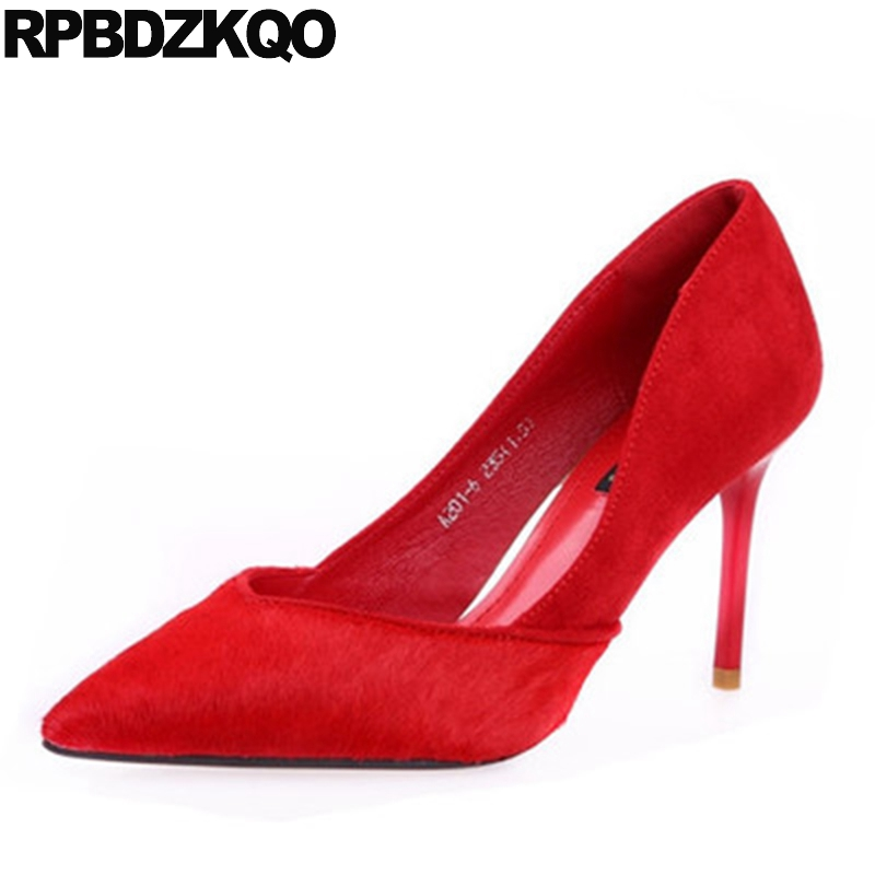 High Heels Footwear Size 4 34 Female Wedding Red Pointed Toe Scarpin Prom Classic China Ladies Bridal Shoes Suede Autumn Spring