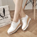 2015 women autumn shoes new thick bottom paint Bullock shoes wedges Loafers Shoes plus size 42 43 Casual pumps