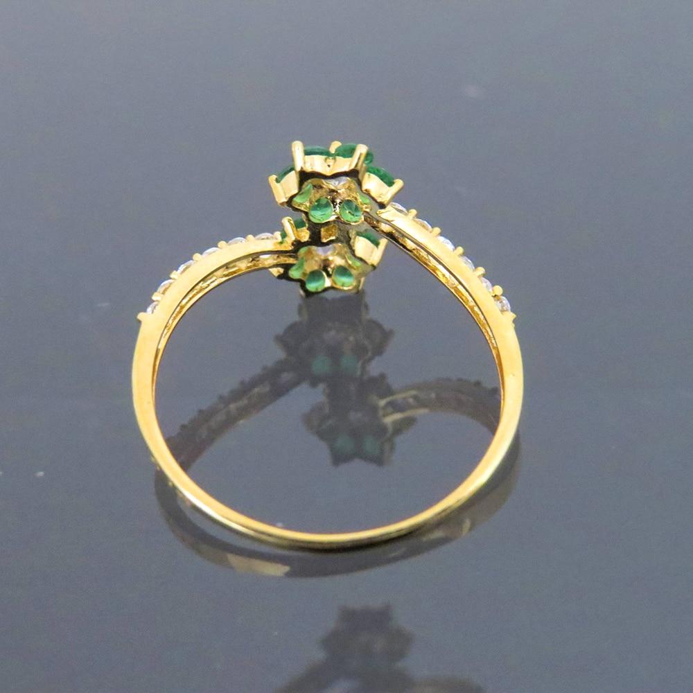 Прекрасный 14 К желтого золота 0.4CTW 1,5 мм Supre белый Moissanite & Tsavorite скручивающий браслет обручальное кольцо для женщин - 3