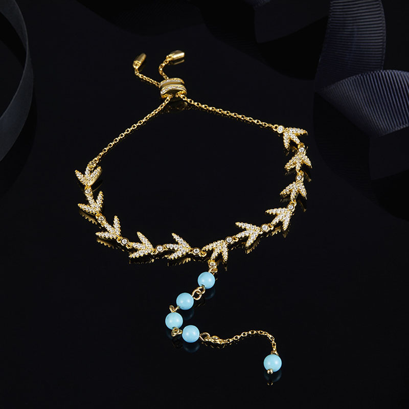 SLJELY 925 Sterling Silver Yellow Gold Color Laurel Leaves with Turquesa Beads Bracelet Pave CZ Zircon