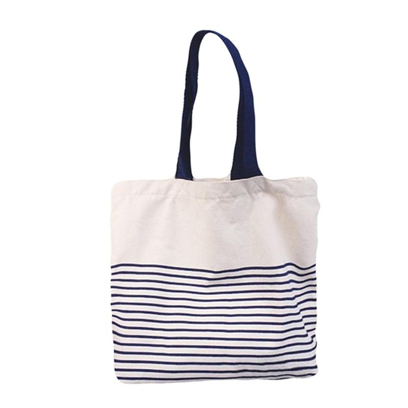 Fashion Tote Shopping Bags Cotton Grocery Bags Folding Stripe Print  Shopping Cart Eco Grab Bag 731d2c9b33006