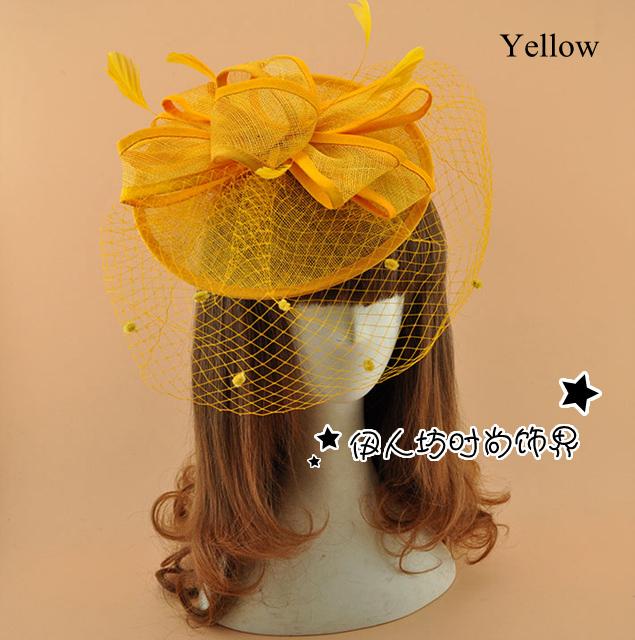 Fábrica de vender fascinador chapéus acessórios de cabelo Multi cores artesanais pena da flor do casamento chapéus com o rosto véu Birdcage Dropship