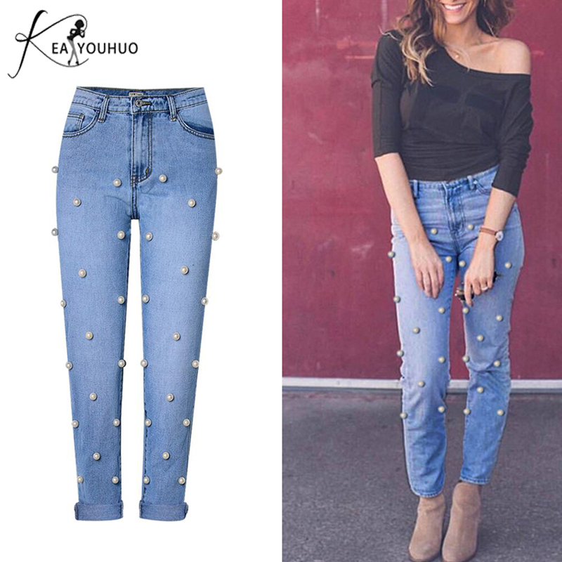 New Spring 2018 Mom Jeans Woman With High Waist Denim Pantalon Femme Boyfriend Jeans For Women Female Pearl Jeans Pants Trousers