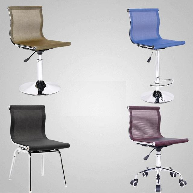 Steel Bar Stool Chairs Disc Ventilated Office Chair Mesh Lift Leisure  Moving Back Waiting