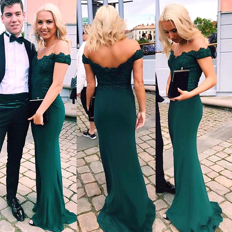 Off Shoulder Bridesmaid Dresses Elegant Hunter Green Vintage Lace Long 2018 Wedding Guest Dress Mermaid Party Prom Formal Gowns