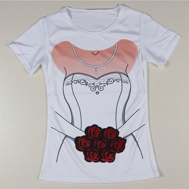 promoción nueva camiseta de la mujer vestido de novia de la boda