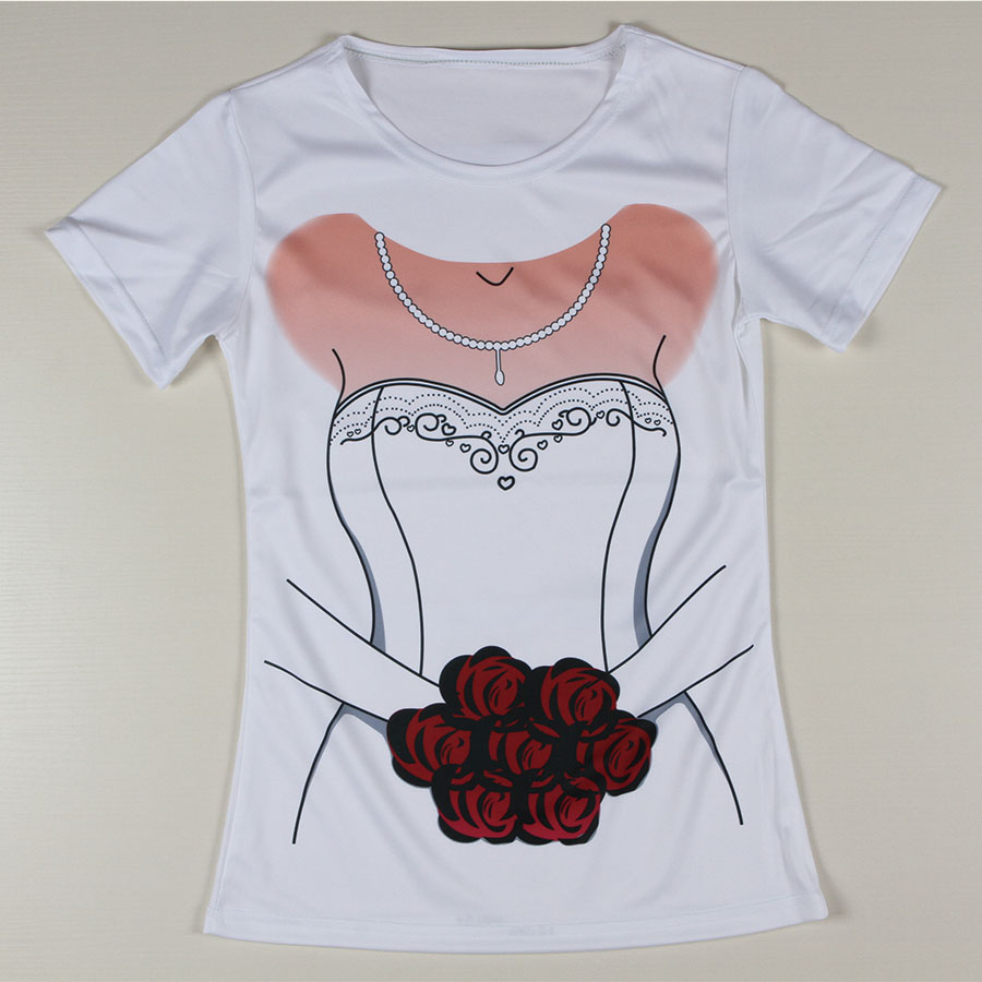 Promotion New T Shirt Woman Wedding Dress Bride Flowers Woman Camisetas Funny Polyester Round