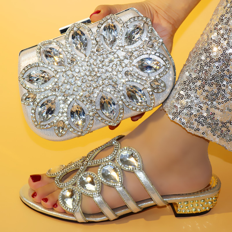 Rhinestone Wedding Italian Shoes with Matching Bag High Quality African Shoes and Bag Set Party Women Nigerian Shoes and Bag Set-in Women's Pumps from Shoes    3