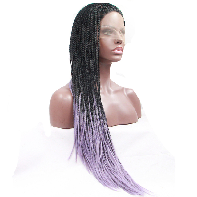 Purple Ombre Braided Wigs Lace Front Wigs Synthetic Braid Hair Box Braids Twist Dreadlocks Micro Braid Wigs Cosplay Lace Frontal