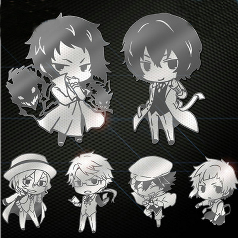 6pcs/lot Anime Bungo Stray Dogs Decal Stickers 3D Waterproof Phone Laptop Stickers DIY Toy Stickers